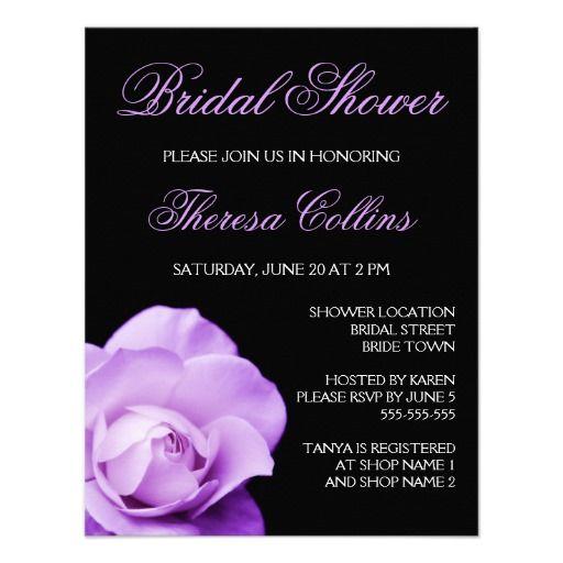 Romantic purple rose wedding bridal shower invite purple black romantic purple rose wedding bridal shower invite filmwisefo Choice Image