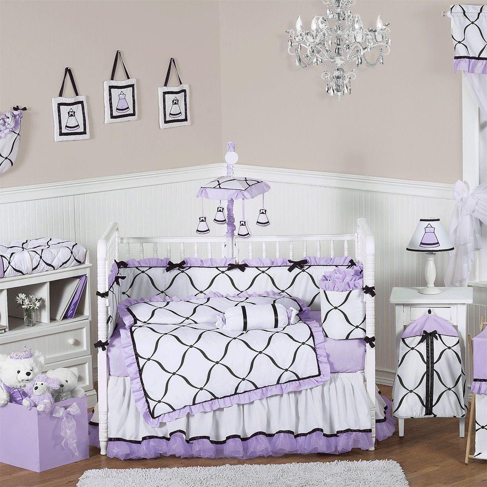 Black And White Nursery Bedding Sets Princess Baby Bedding Crib Bedding Girl Purple Crib Bedding