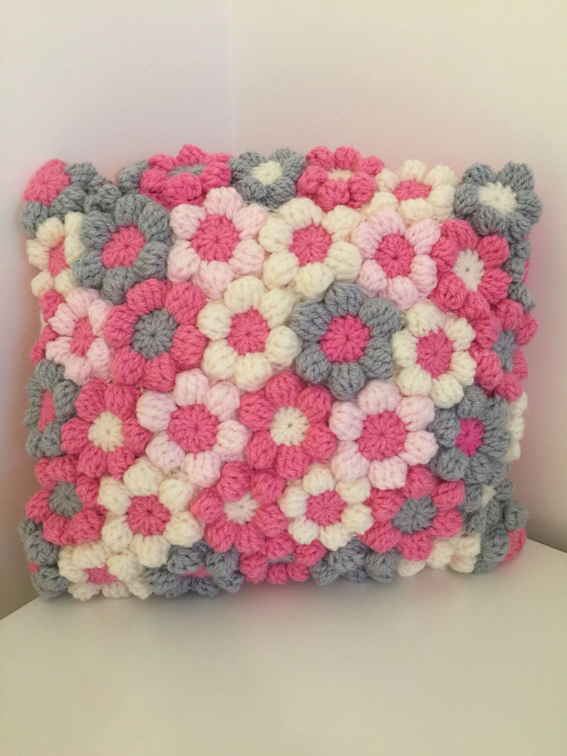 Crochet Cushion,Kissen, Amorttiguar, Kussen,Cuscino,Coussin, Almofada, Pink Cream & Grey Flower Couch Pillow Gift 16 x 16 inch