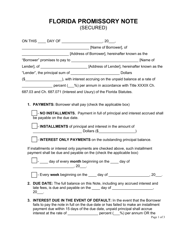 Free Florida Secured Promissory Note Template  Word  Pdf
