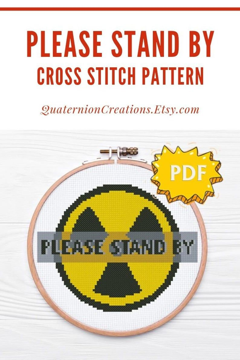 Please Stand By On A Radiation Sign Fallout Inspired Cross