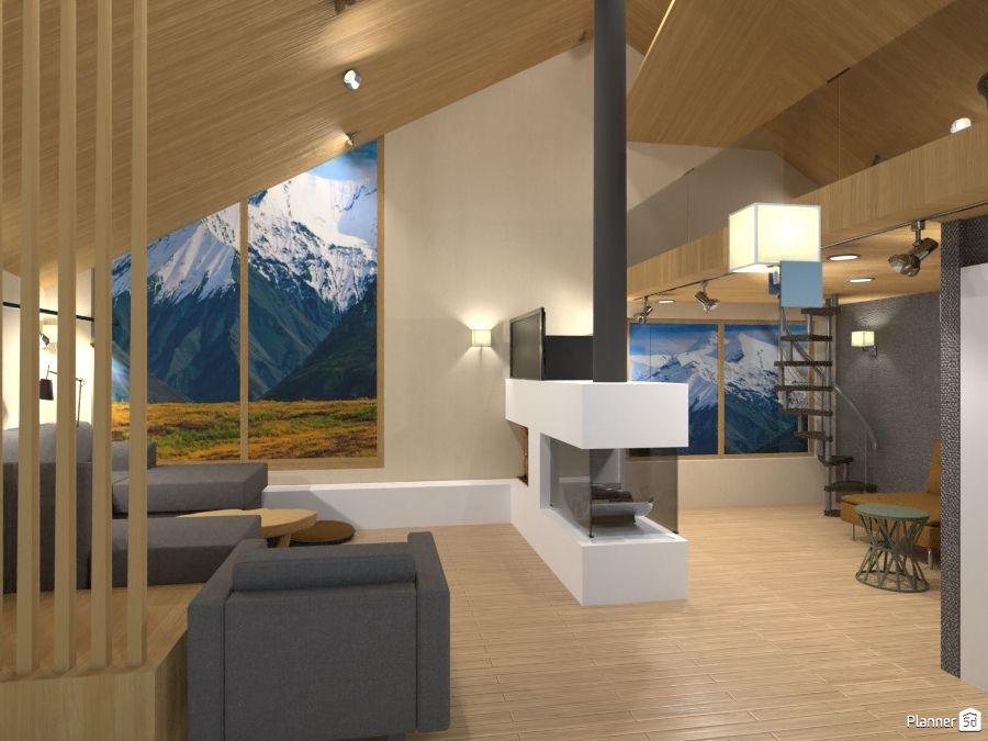 Beau Living Room, Modern Fireplace, PLANNER 5D