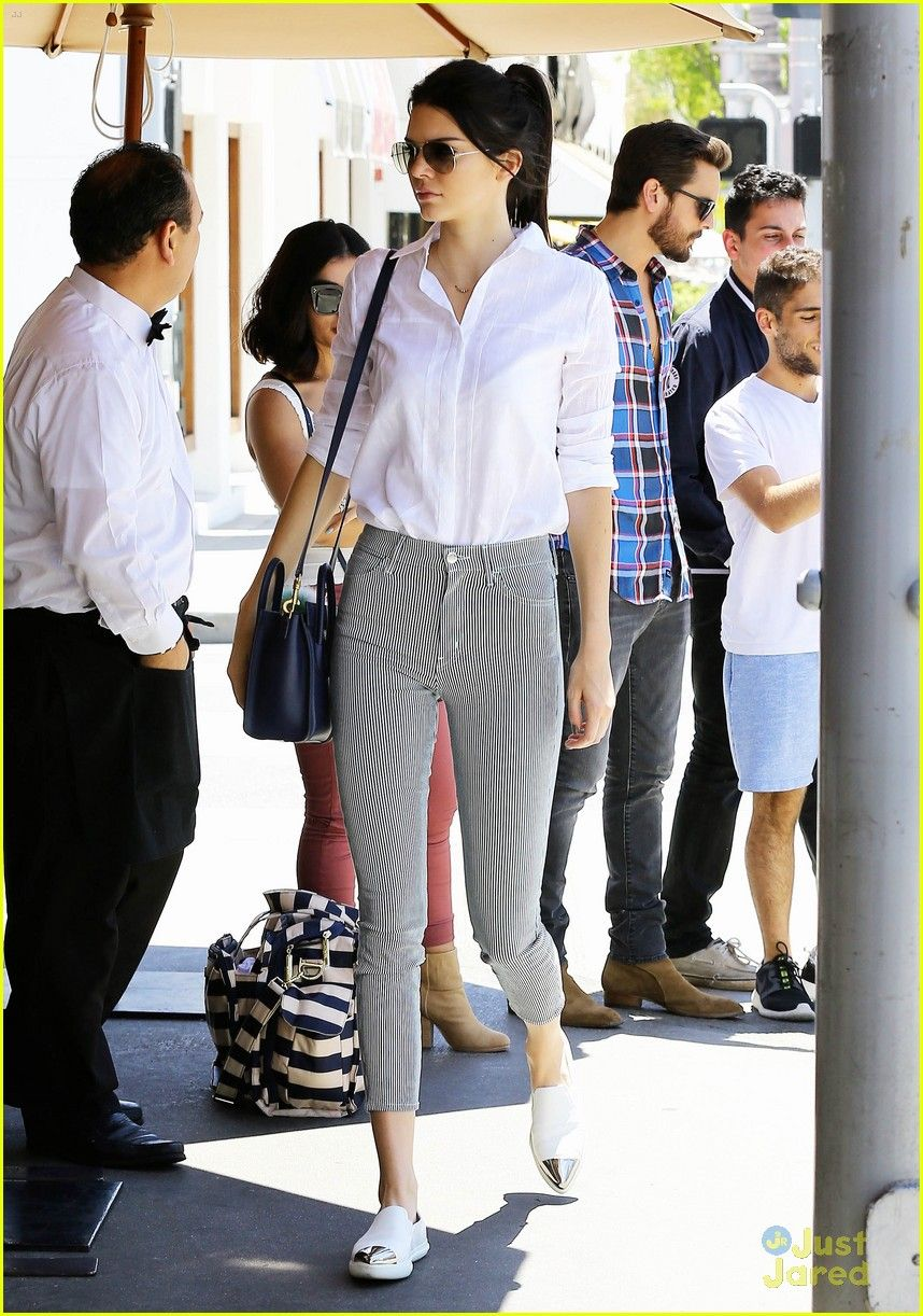 02be556c8da Kendall Jenner looks chic in her black and white outfit while going out for  lunch at Il Pastaio on Friday (May 1) in Beverly Hills
