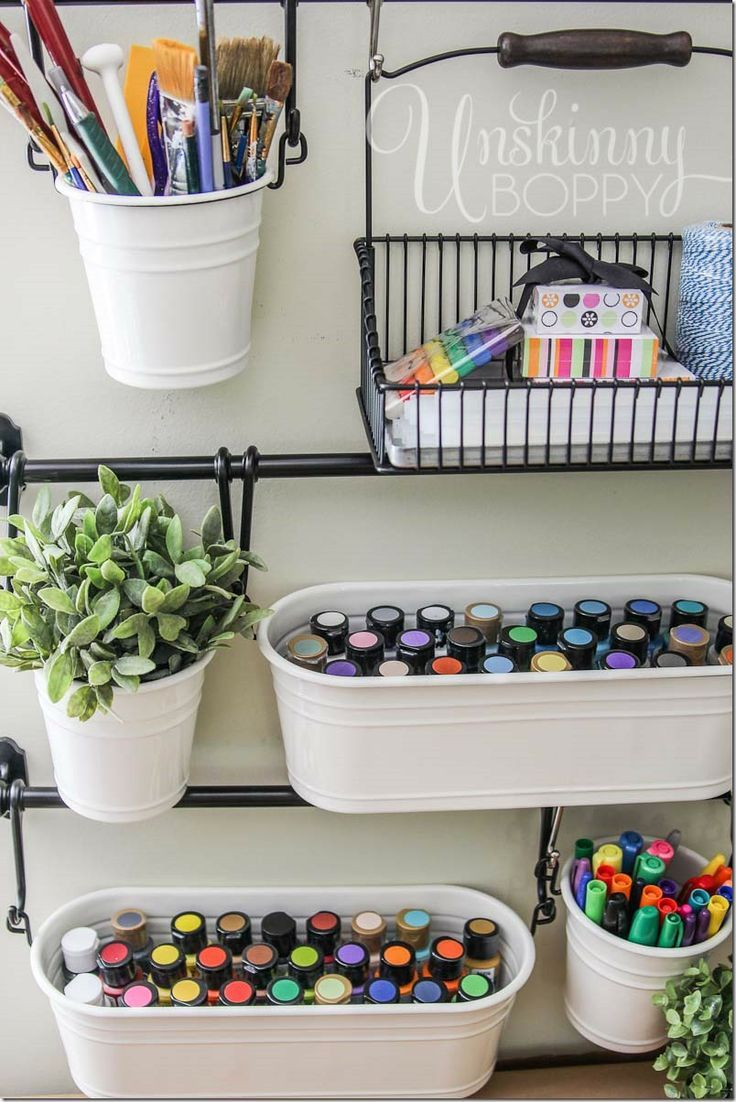 Art Supplies In Hanging Buckets From Ikea For Easy Craft Room Organization Playroom By Desk