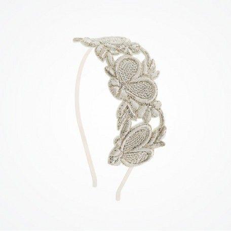Silver heart deco bridal headband