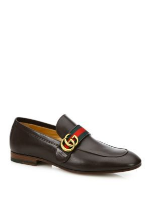 ce36c4e8dd4 GUCCI Revolt Web Logo Donnie Leather Loafers.  gucci  shoes  flats ...