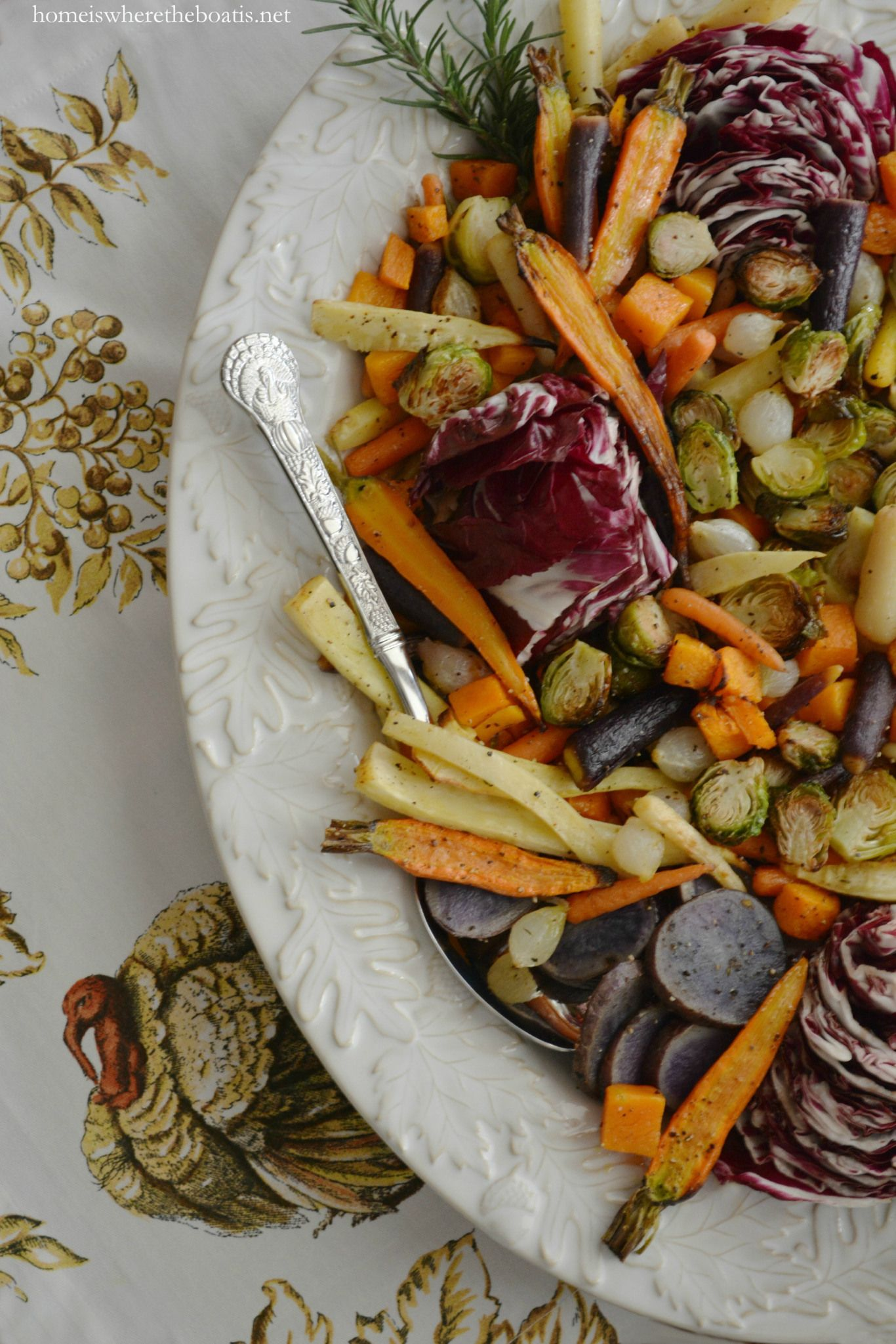 Roasted Harvest Vegetable Salad with Apple Cider Vinaigrette, a healthy and colorful addition to your Thanksgiving feast!   homeiswheretheboatis.net