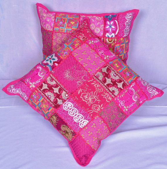 Cushion Pink Bohemian Set of 2 Pcs. Hand made by RangilaRajasthan