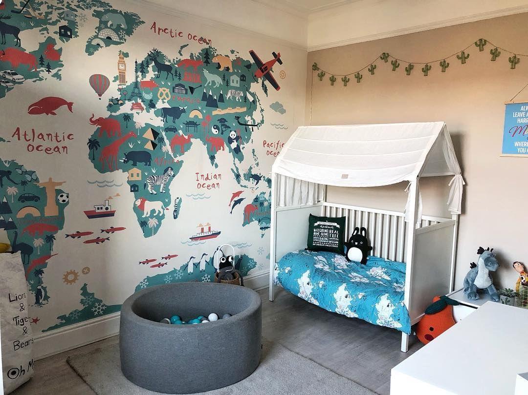 Kids World Map Wallpaper Mural Muralswallpaper Kids Bedroom