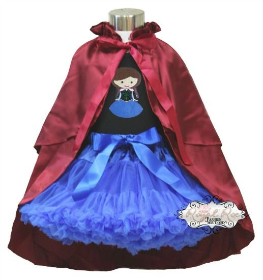 Anna and Elsa Frozen Pettiskirt Set- Black top with cape