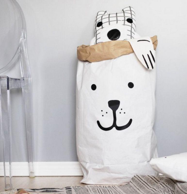 55/x 22/x 80/cm Noir//Blanc Papier TELLKIDDO Sac de Rangement Sleeping Bear