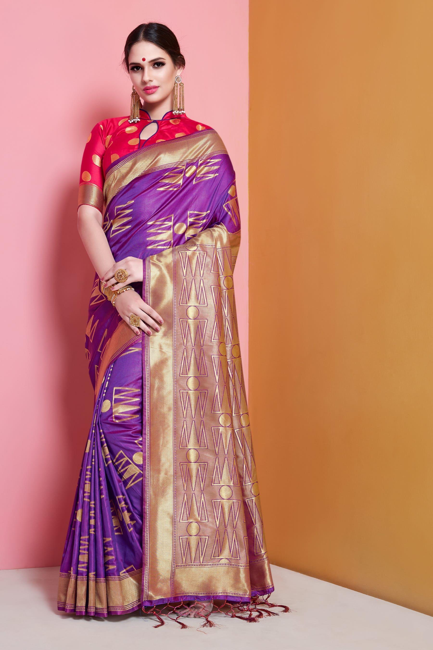 103ab5b91a3 Classic Banarasi Soft Silk Purple Colored Jacquard Saree