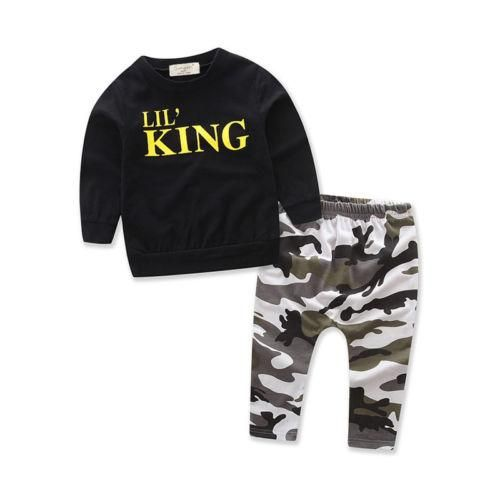 Little King Black Camouflage Toddler Outfit | Kids outfits