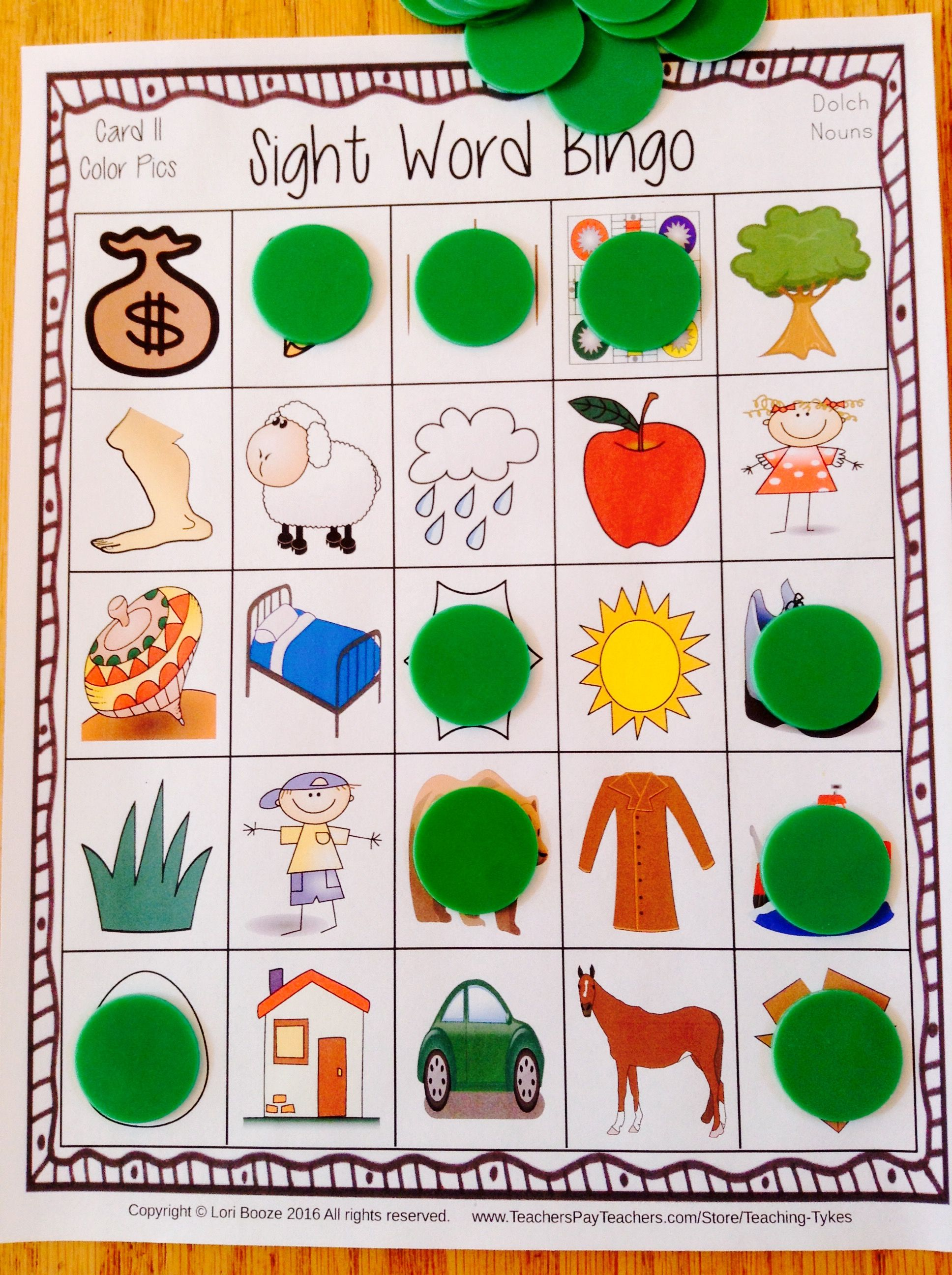 Sight Words Bingo Dolch Nouns With Images