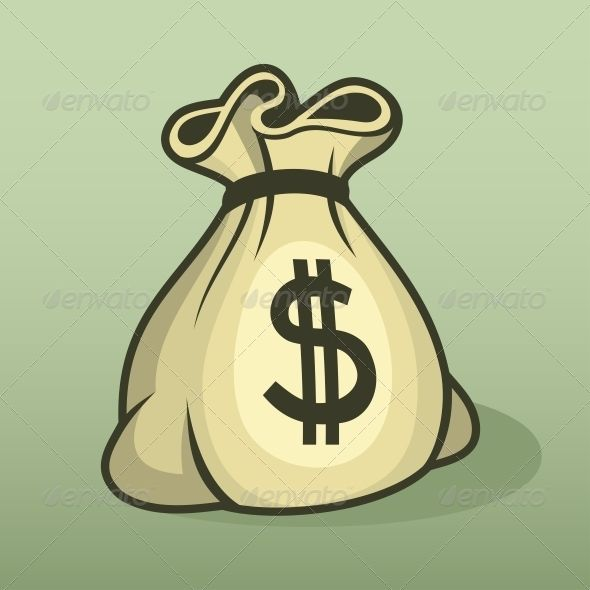 Make money button with icon sack and dollar sign  | Money Bag in
