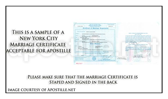 New York Marriage Certificate For Apostille  State Of New York