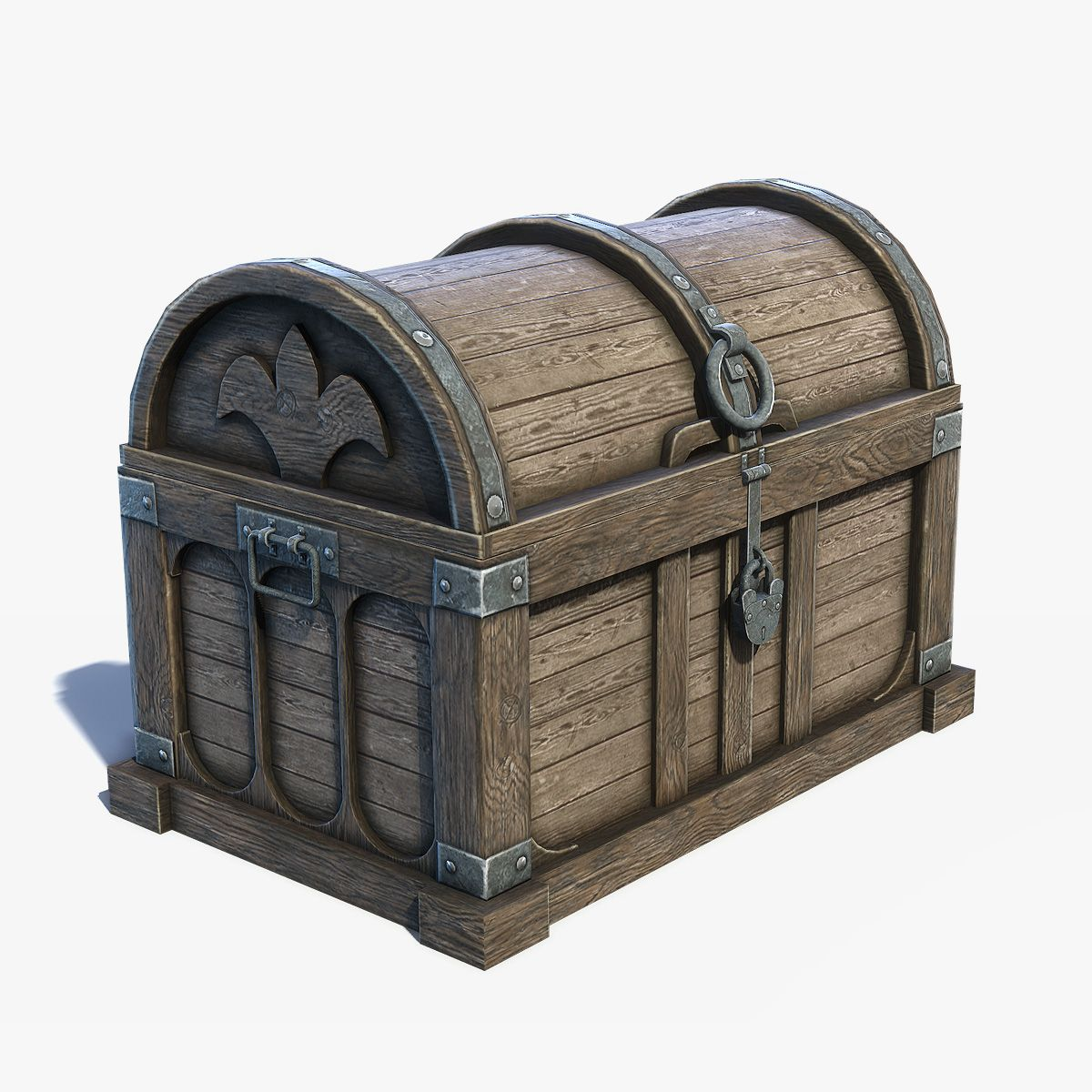 Game Low Poly 3d Model Of Old Medieval Wooden Chest Box Old Wooden Boxes Fantasy Furniture Wooden Chest