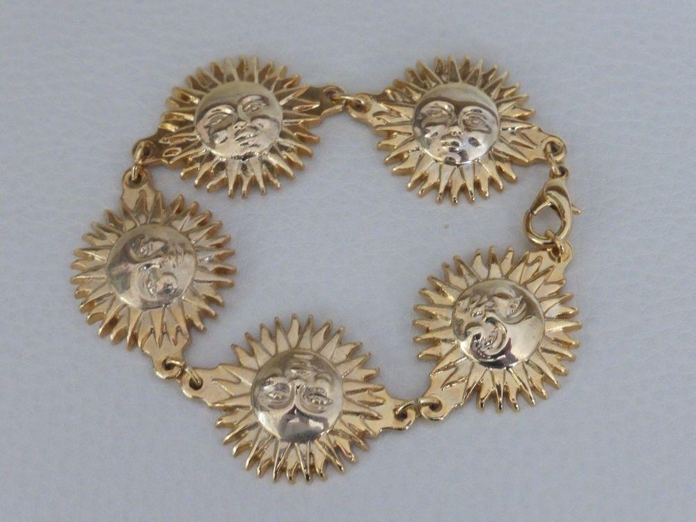 Vintage 8 Gold Versace Profumi Bracelet Plated Sun Gianni Long jUzpMVLqSG