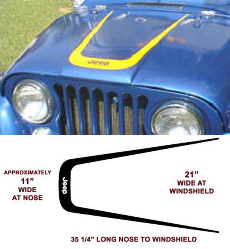 Product Jeep Wrangler Hood Cj Xj Yj Tj Vinyl Decal Sticker Jeep