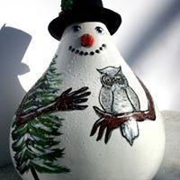 Snowman w/Owl Gourd by Carolyn Reif-Lockwood