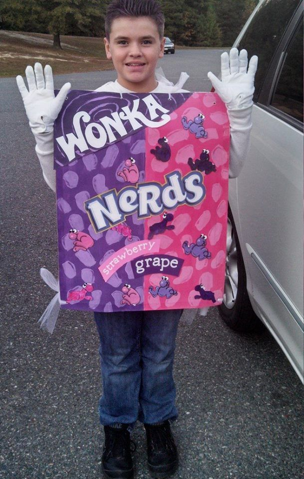 This was a 3-4 hour project to make a front u0026 back for a Nerds box. I downloaded the Willy Wonka Font from a website cut those letters.  sc 1 st  Pinterest & NERDS candy Halloween costume glasses. | I actually did it ... Aboutintivar.Com