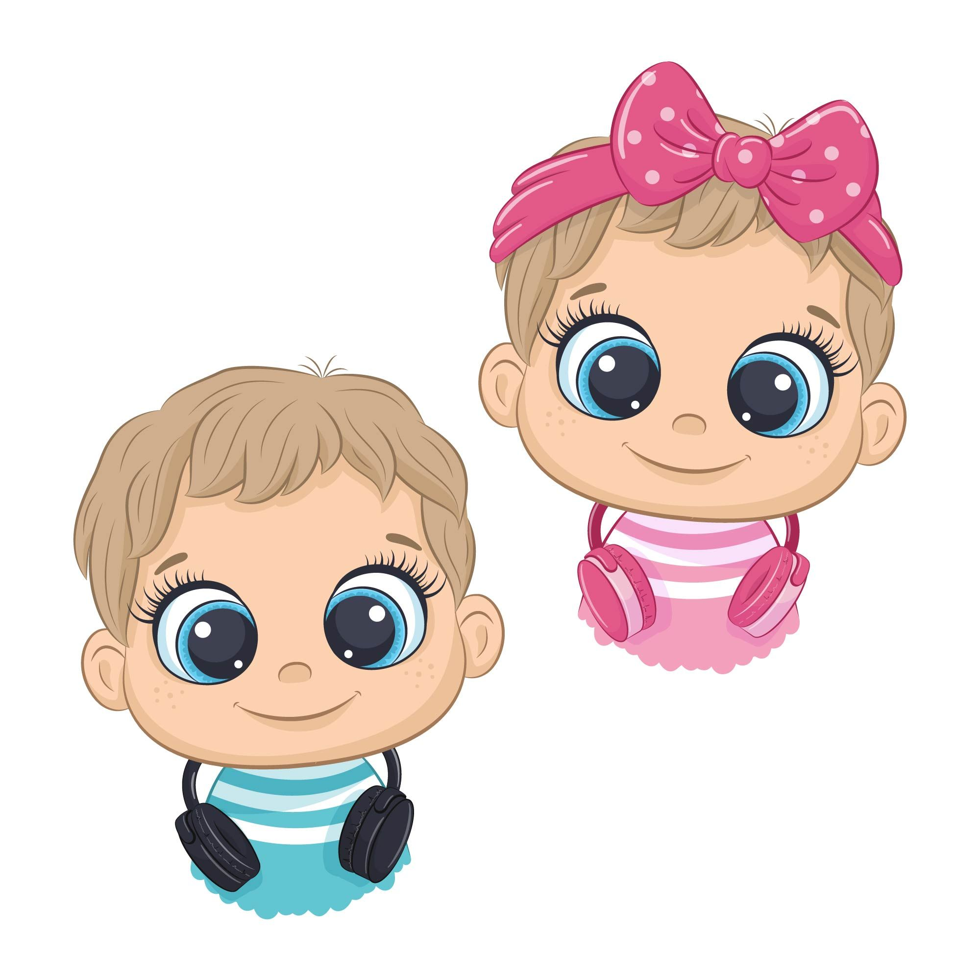 Cute Baby Boy And Girl Clipart Png Eps Jpeg Music Digital Download Nursery Art Baby Shower Clipart Cute Animal Clipart Animal Clipart