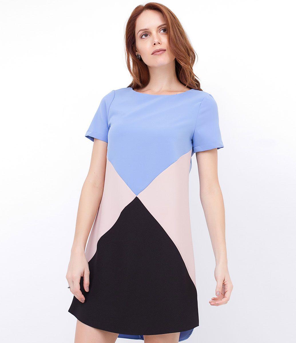 407558009 Vestido feminino Tricolor Com recortes Marca: Cortelle Tecido: Alfaiataria  Composição: 94% Poliéster