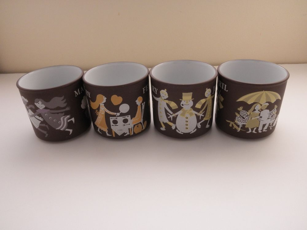 4 coffee or tea cups made by Lancaster Vitramic in Hornsea England