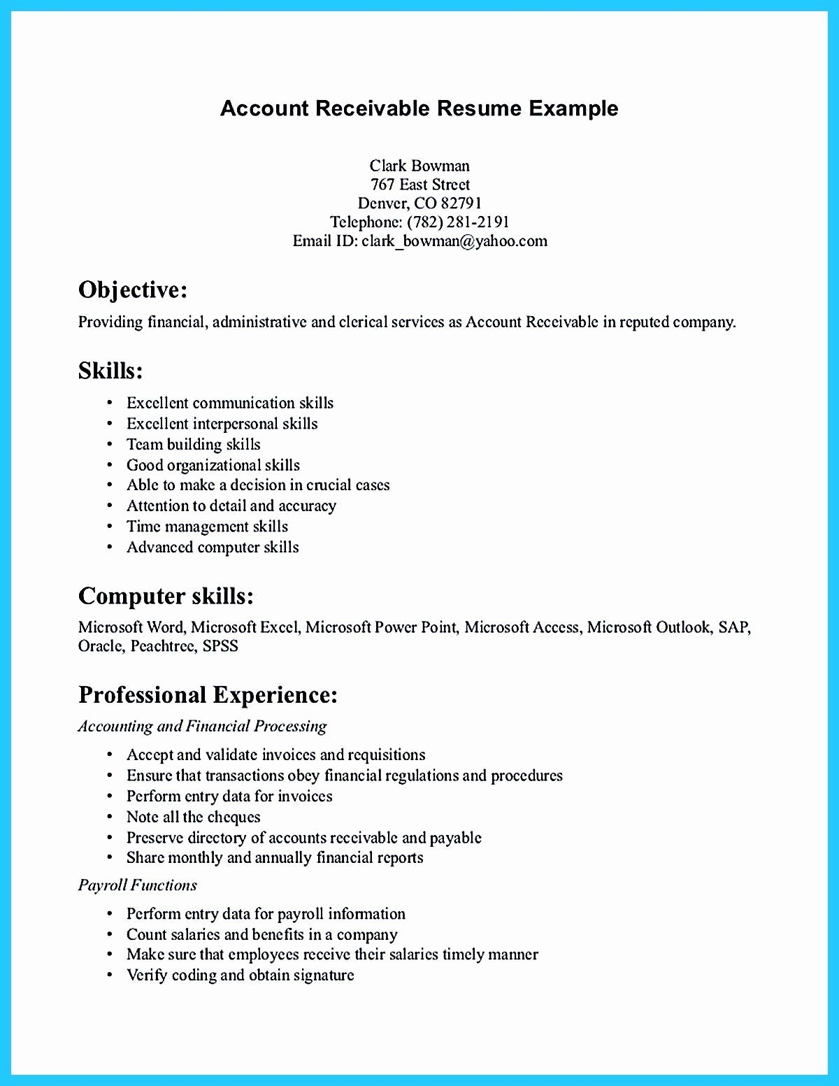 Account Receivable Resume Examples Lovely Accounts Receivable