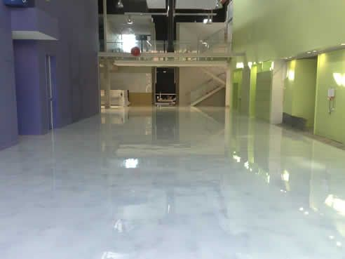 Faux White Marble polished concrete floor WANT Palette33 Epoxy. White marble floor tile