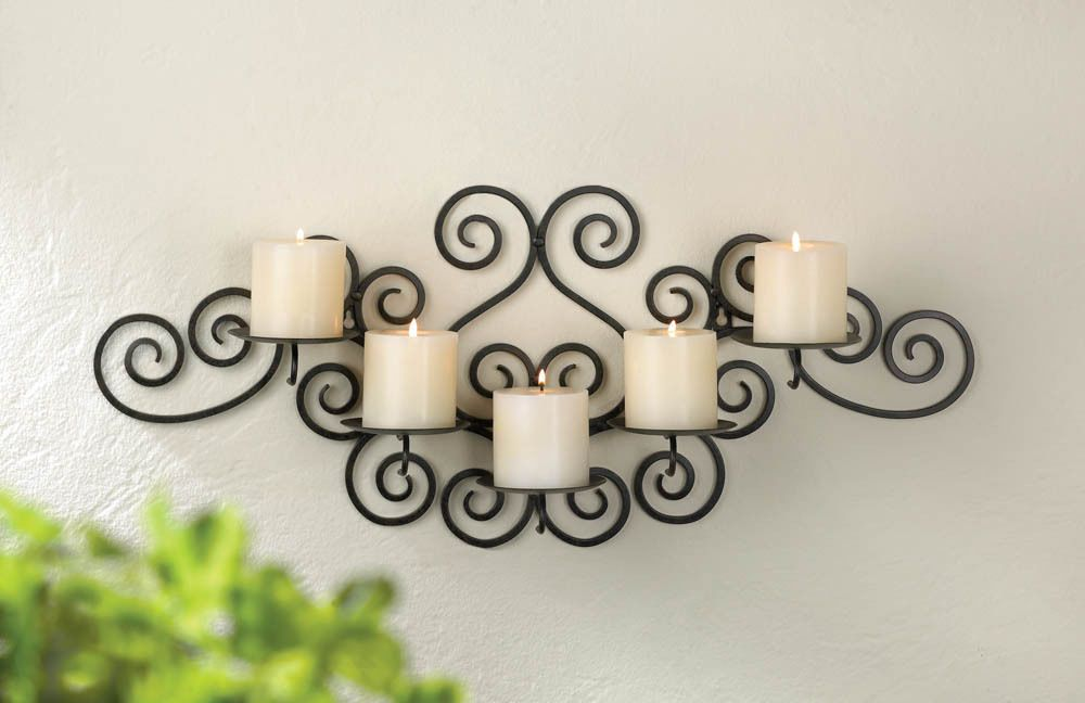 Classic Large Black Iron Scroll Swirl Candelabra Ball Candle Holder Wall Sconce Generic Wall Candle Holders Wrought Iron Candle Wall Sconces