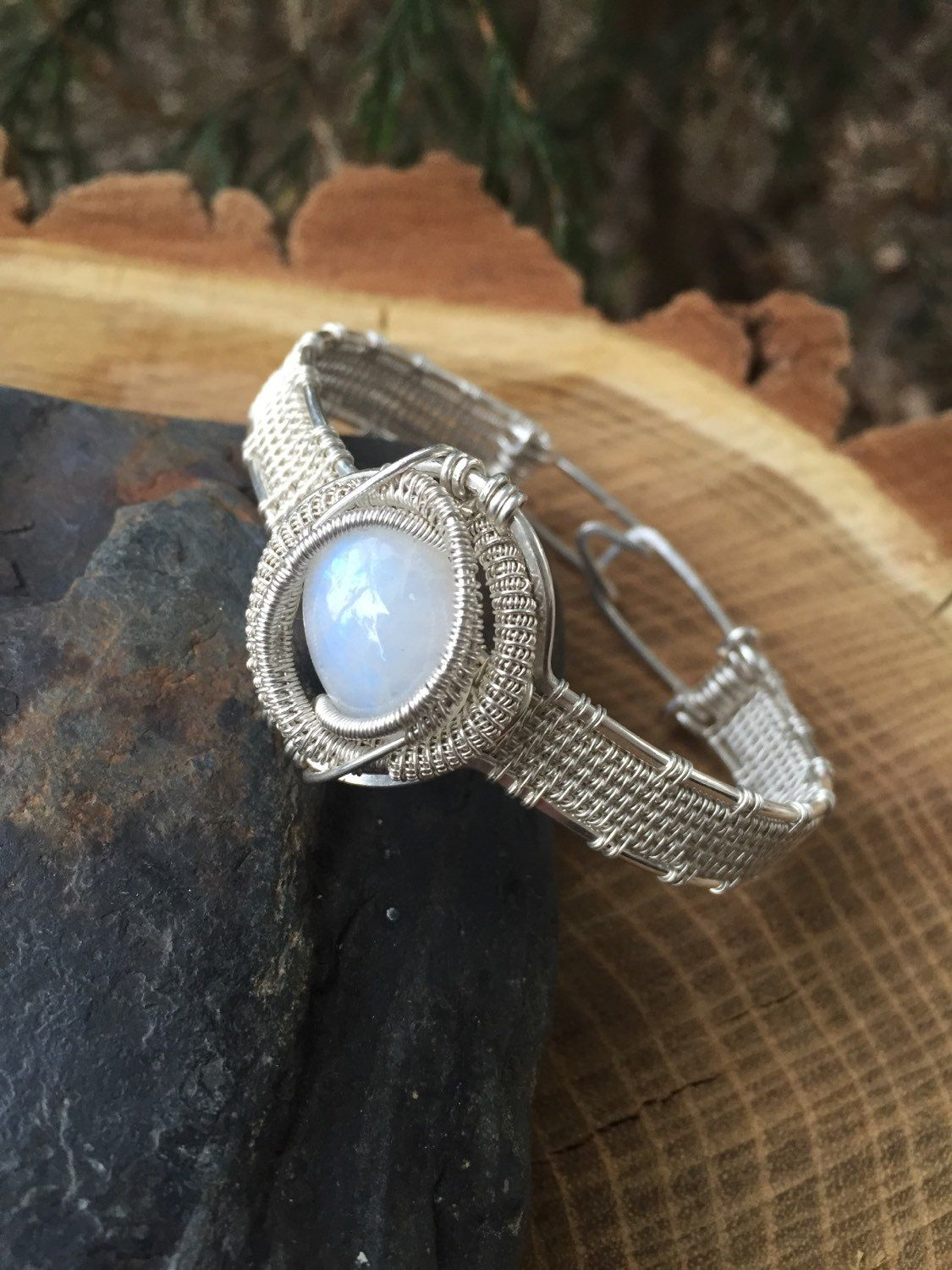 Wire Wrapped Bracelet, Moonstone Bracelet, Wire Wrap Cuff, Sterling Silver Bracelet, Rainbow Moonstone Wire Wrap, Heady Wrap by SweetWaterSilver on Etsy https://www.etsy.com/listing/258689167/wire-wrapped-bracelet-moonstone-bracelet