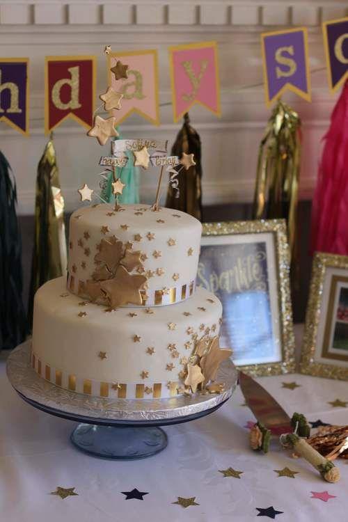 Star Burst Hand Painted Gold And White Birthday Cake Wish Upon A