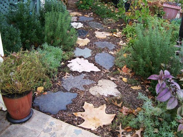 Garden Path Stepping Stones Leaves Forms Concrete