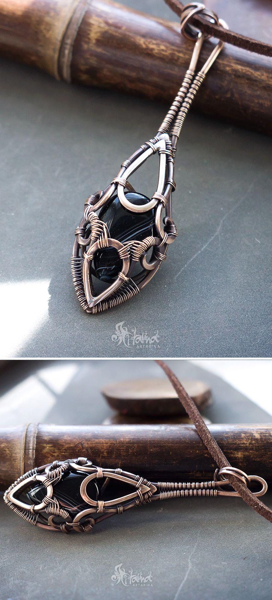 Black stone necklace pendant // Black agate necklace // Long black ...