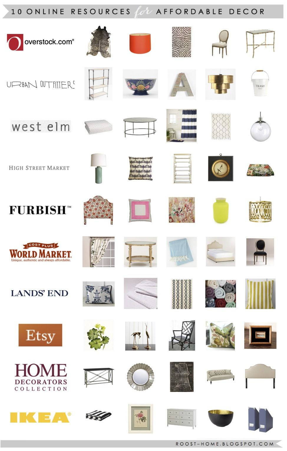 Great list of affordable decor resources from Roost.com
