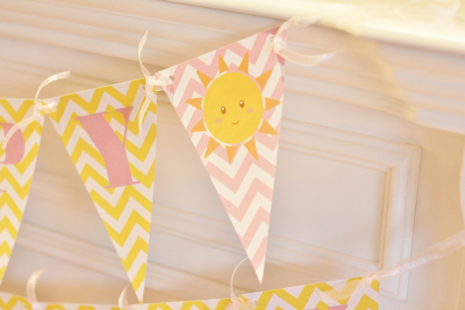Happy birthday pennant flag yellow u pink chevron you are my