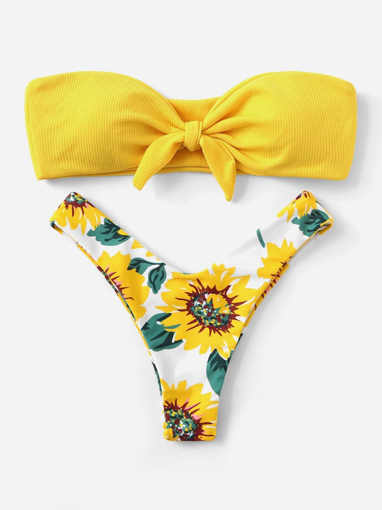 Set Bikini Bandeau Delantero Top Al Pierna Con Nudo Azar De A5L4R3j