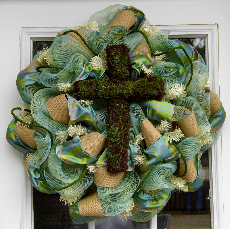 Moss Covered Cross Mesh Wreath Spring Easter