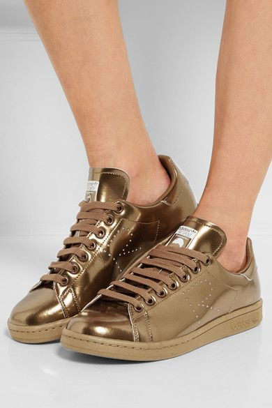 adidas Originals - + Raf Simons Stan Smith perforated metallic leather  sneakers