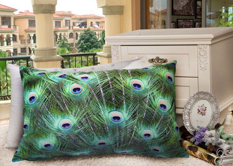Velvet Peacock Fabric Elegant Velvet Cushion Cover Pillowcase