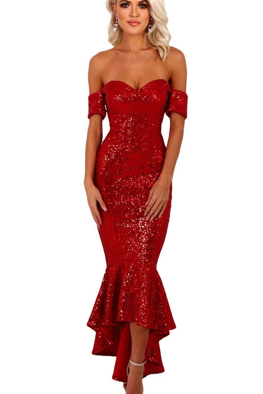 Red sweetheart off shoulder hilo mermaid sequins party dress sip