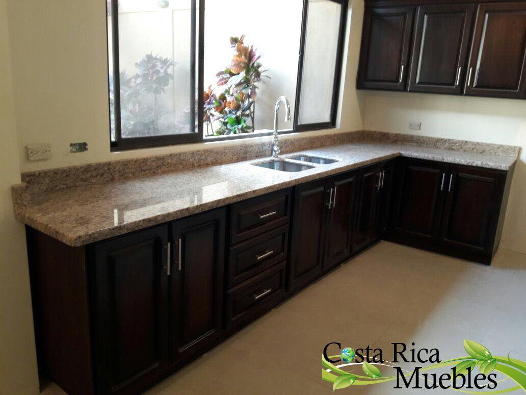 Mueble De Cocina En Madera S Lida Con Sobre Granito Ornamental  # Muebles De Cocina De Madera