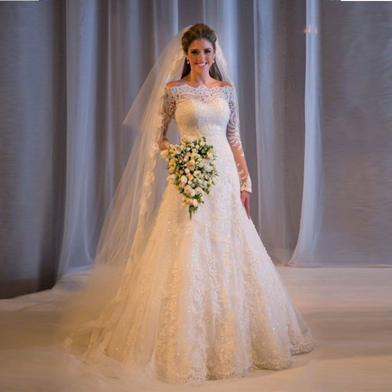 Image result for White Off-the-shoulder Lace Long Sleeve Bridal ...