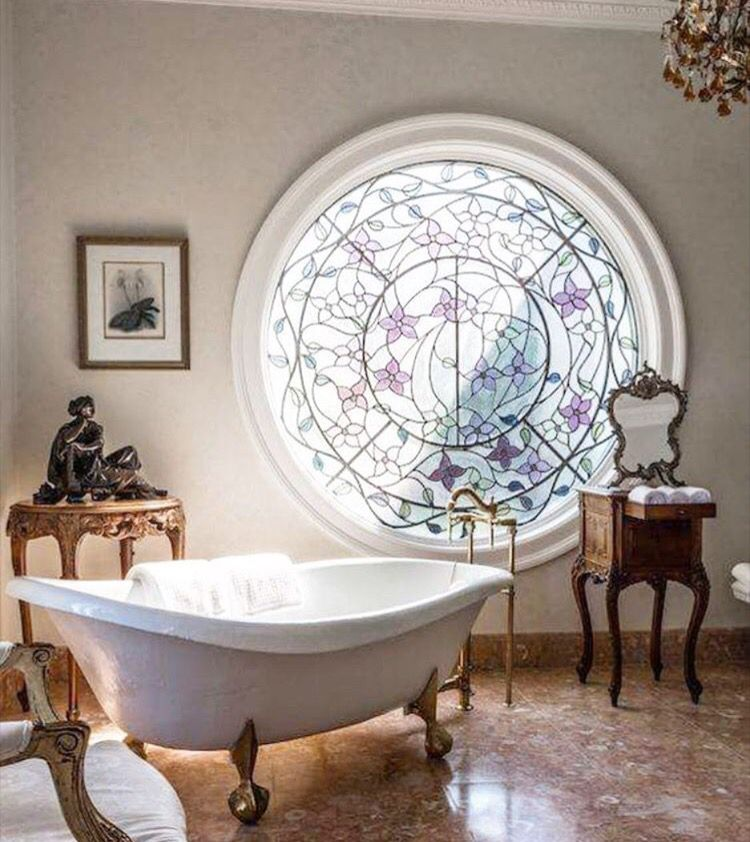 Purple and white bathroom with stain glass window*roll top bath ...