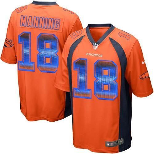 22 Nike Men s Broncos  18 Peyton Manning Stitched NFL Limited Strobe  Orange Team Color Jersey 0fc859354