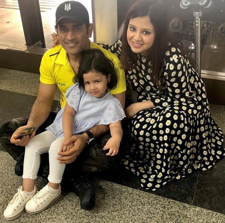 MS Dhoni with his wife Sakshi and daughter Ziva post IPL