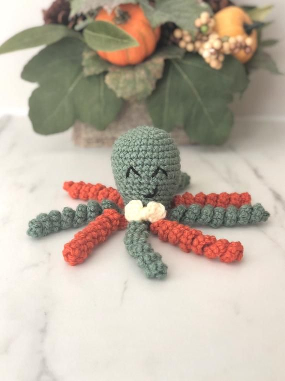 Crochet Octopus, Octopus For Preemie, Preemie Octopus, Crochet Animal, Stuffed Octopus, NICU Octopus #crochetoctopus