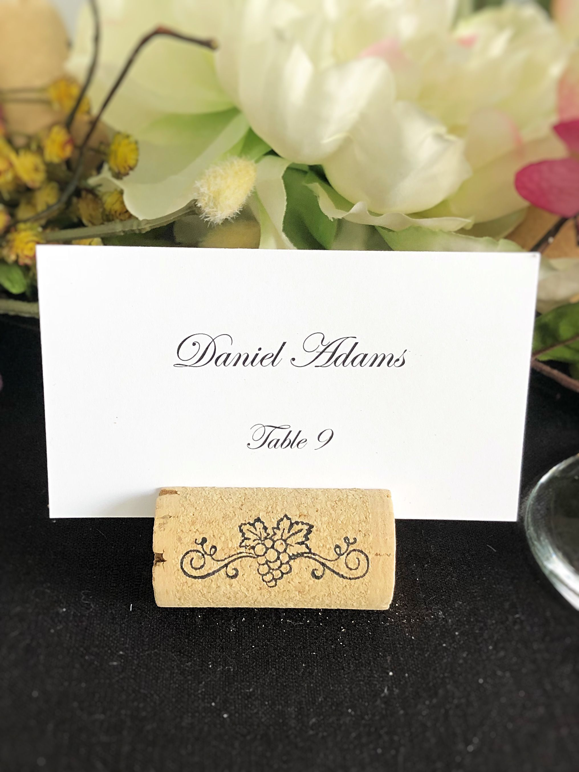 Magnetic Wine Cork Place Card Holders - Swirl Grapes   Place card ...