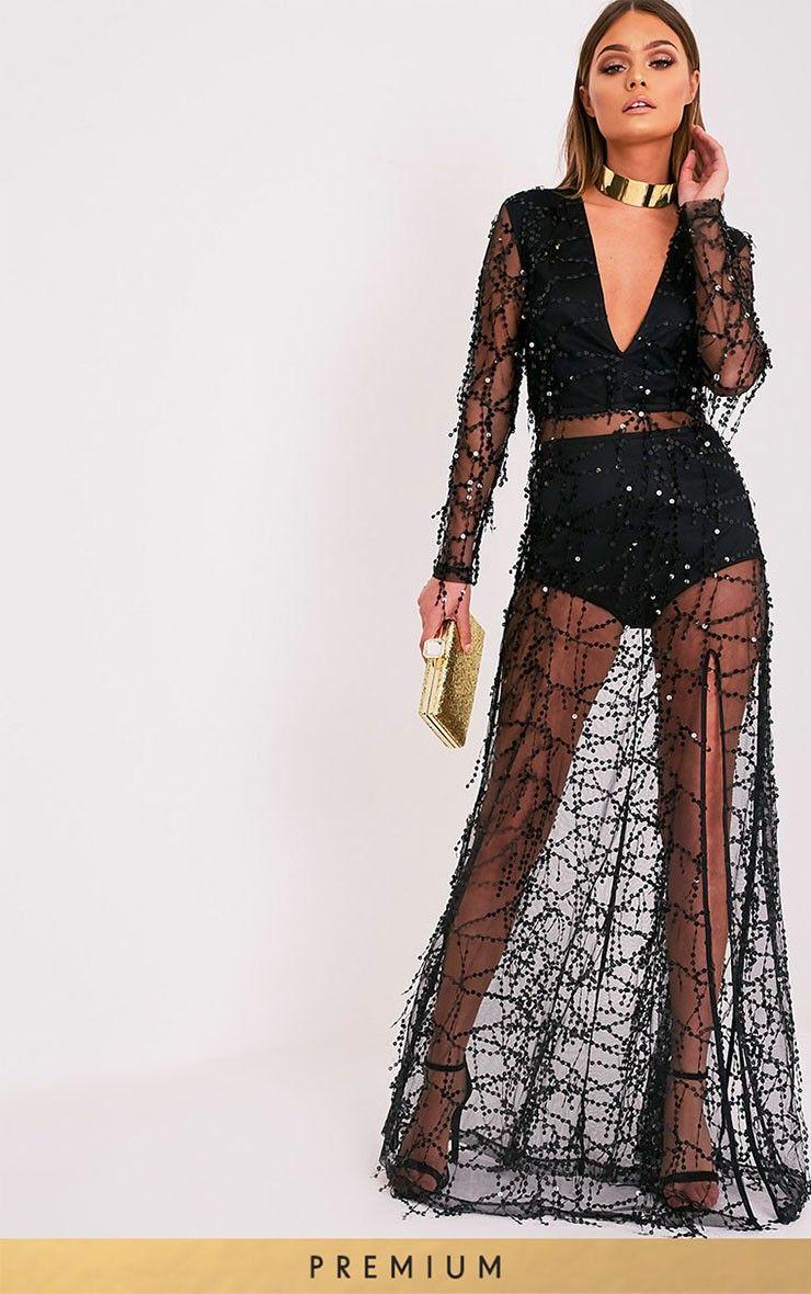 b274376c76 Black Premium Sequin Long Sleeve Maxi DressGet your shine on with this  Premium maxi dress